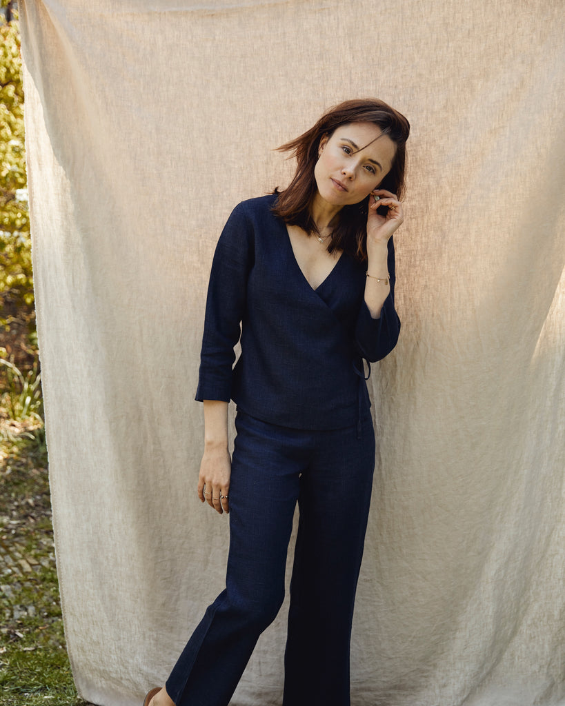 Structured Linen Wrap Top - Navy