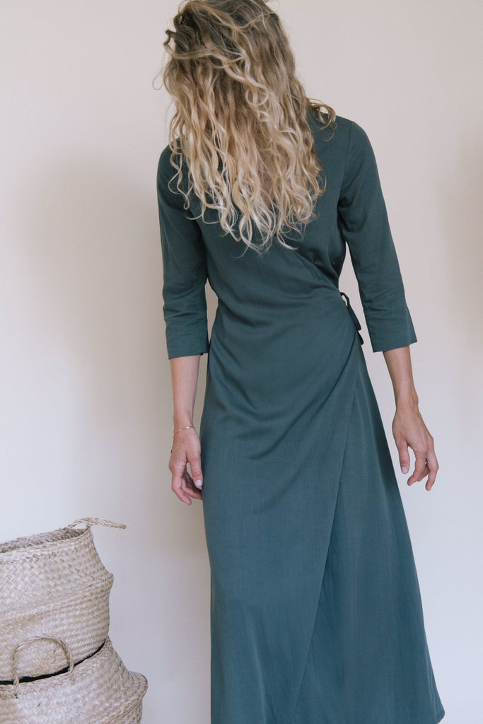 PALAVER KHAKI GREEN WRAP DRESS WEDDING