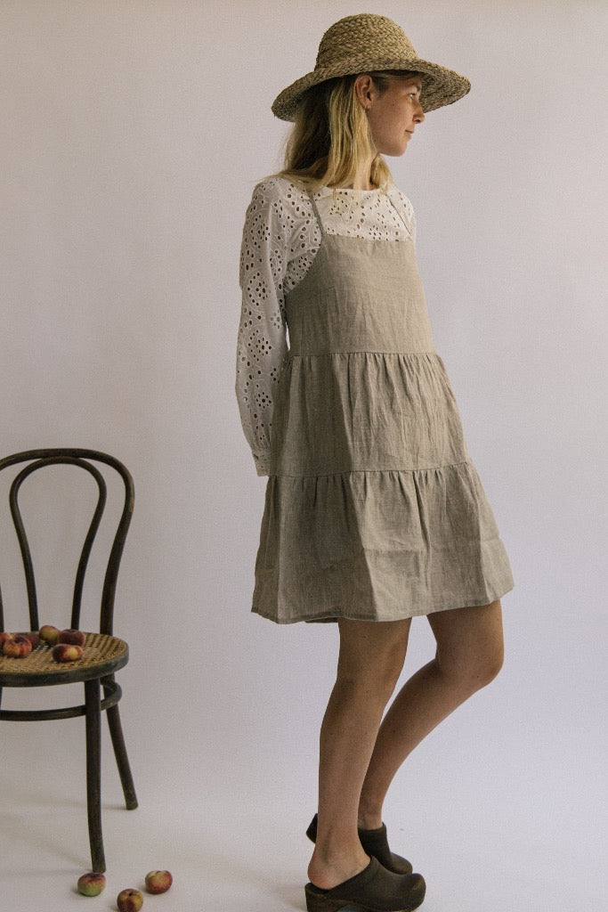 Elodie Tier Dress - Pebble