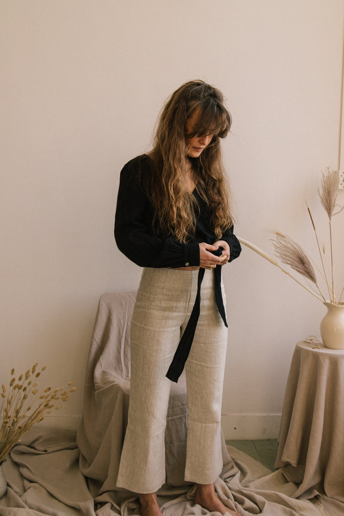 Structured Linen Pant - Natural