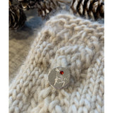 Hand-Stamped Rudolph the Reindeer Swarovski Crystal & Silver-Plated Stitch Marker
