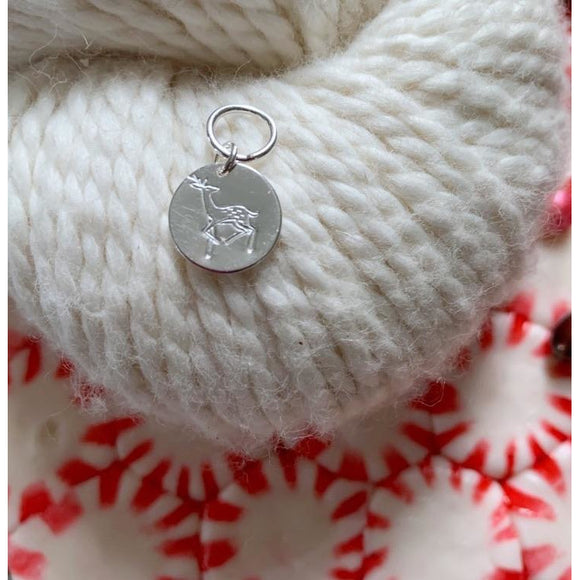 Hand-Stamped Reindeer Silver-Plated Stitch Marker
