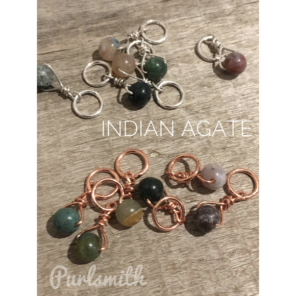 Indian Agate Gemstone Stitch Markers
