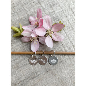 Set of Hand Stamped Floral Silver Plated Stitch Marker