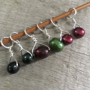 Ribbon Candy Mix Freshwater Pearl Stitch Markers