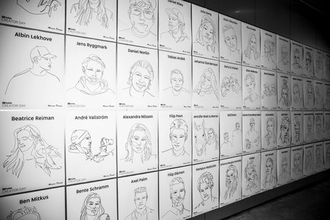 Youtube creator day one line drawing poster porträtt unik design personligt