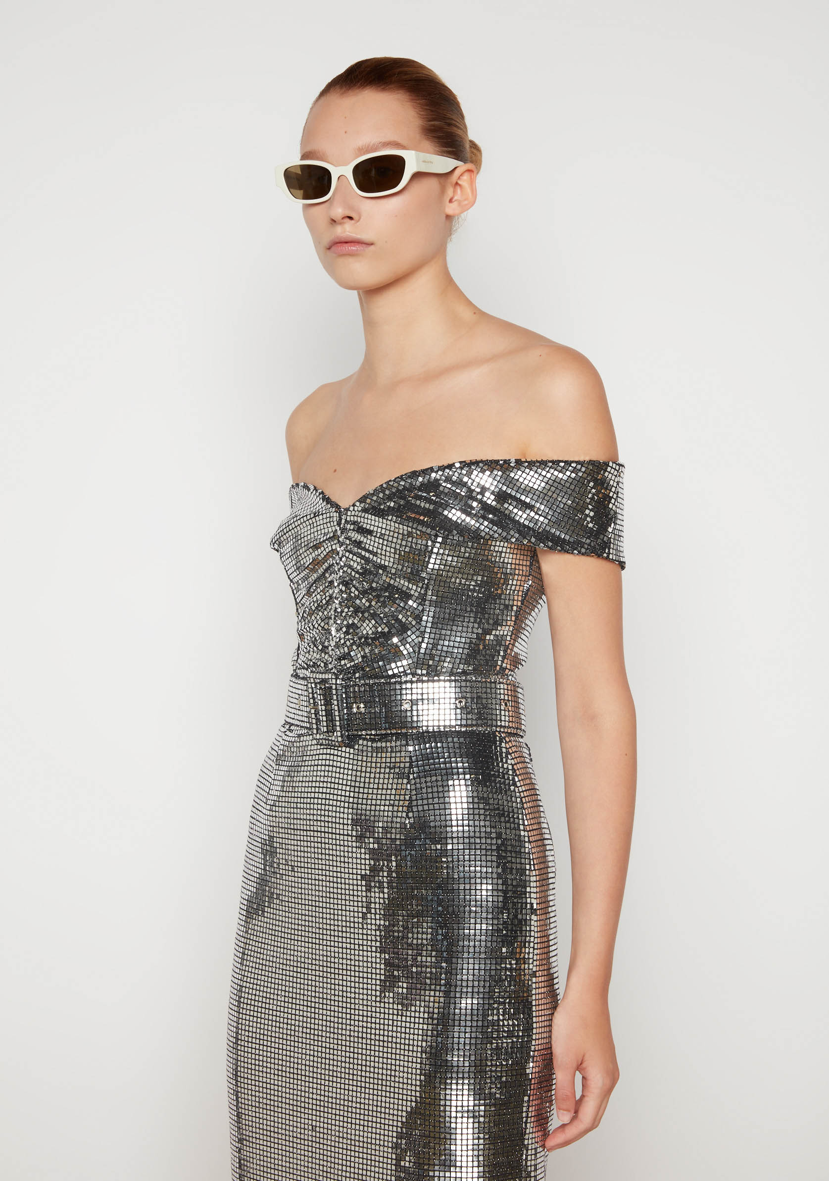 Bardot Shoulder Sparkling Pencil Dress