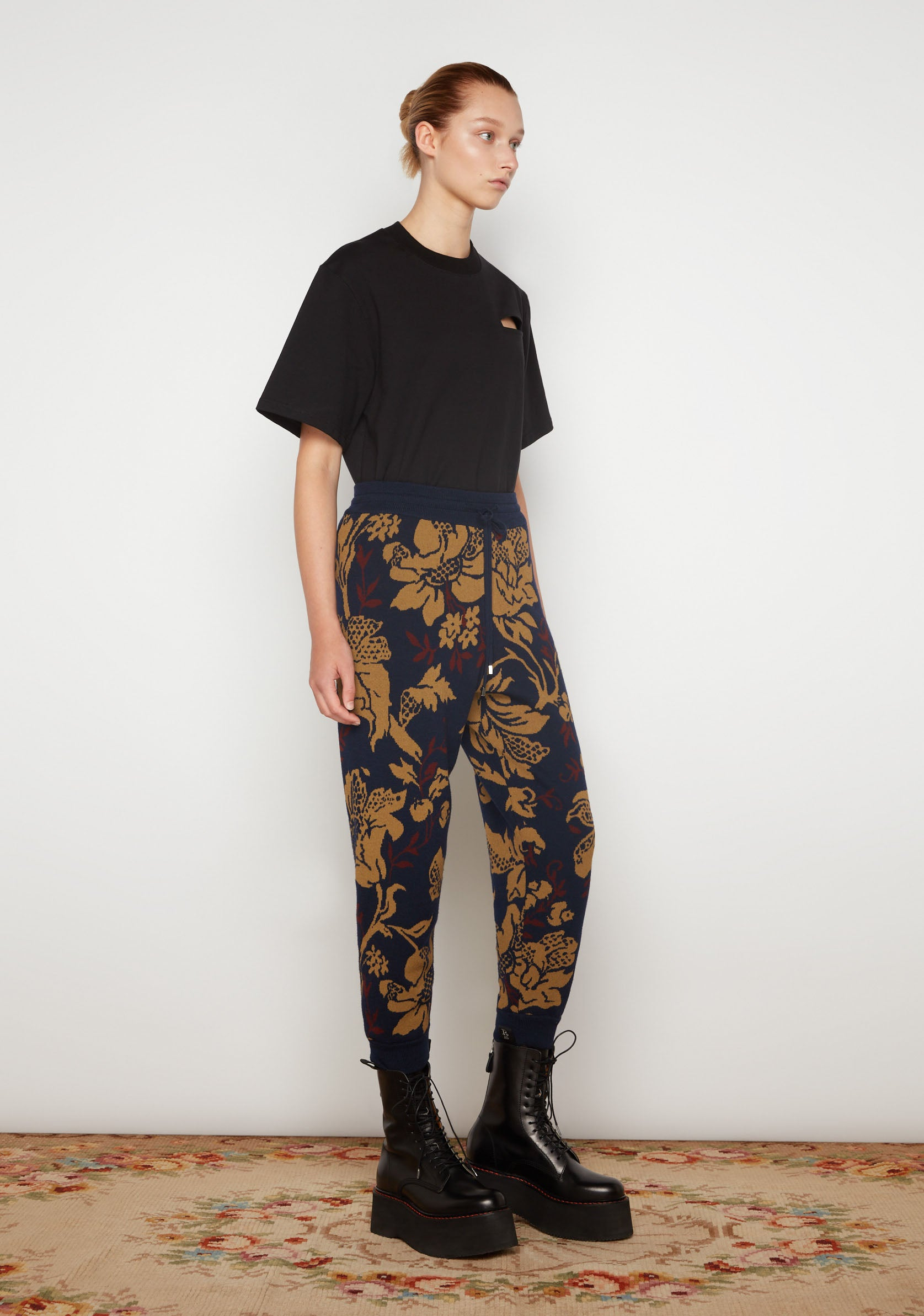 Flower Jacquard Jogging Trousers