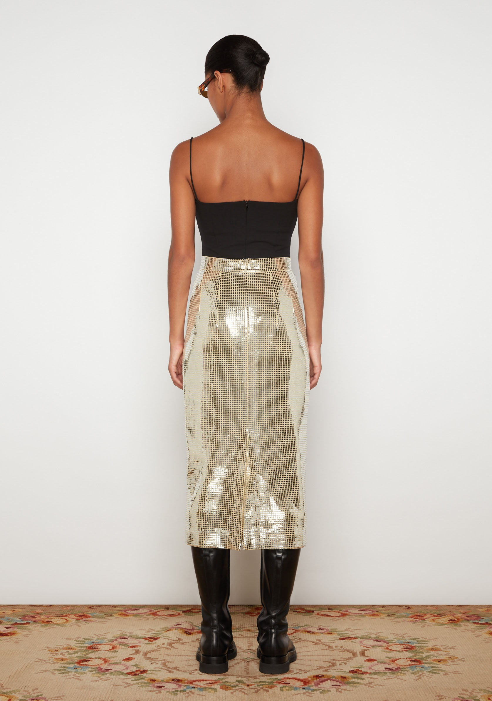 High Waist Disco Peg Skirt