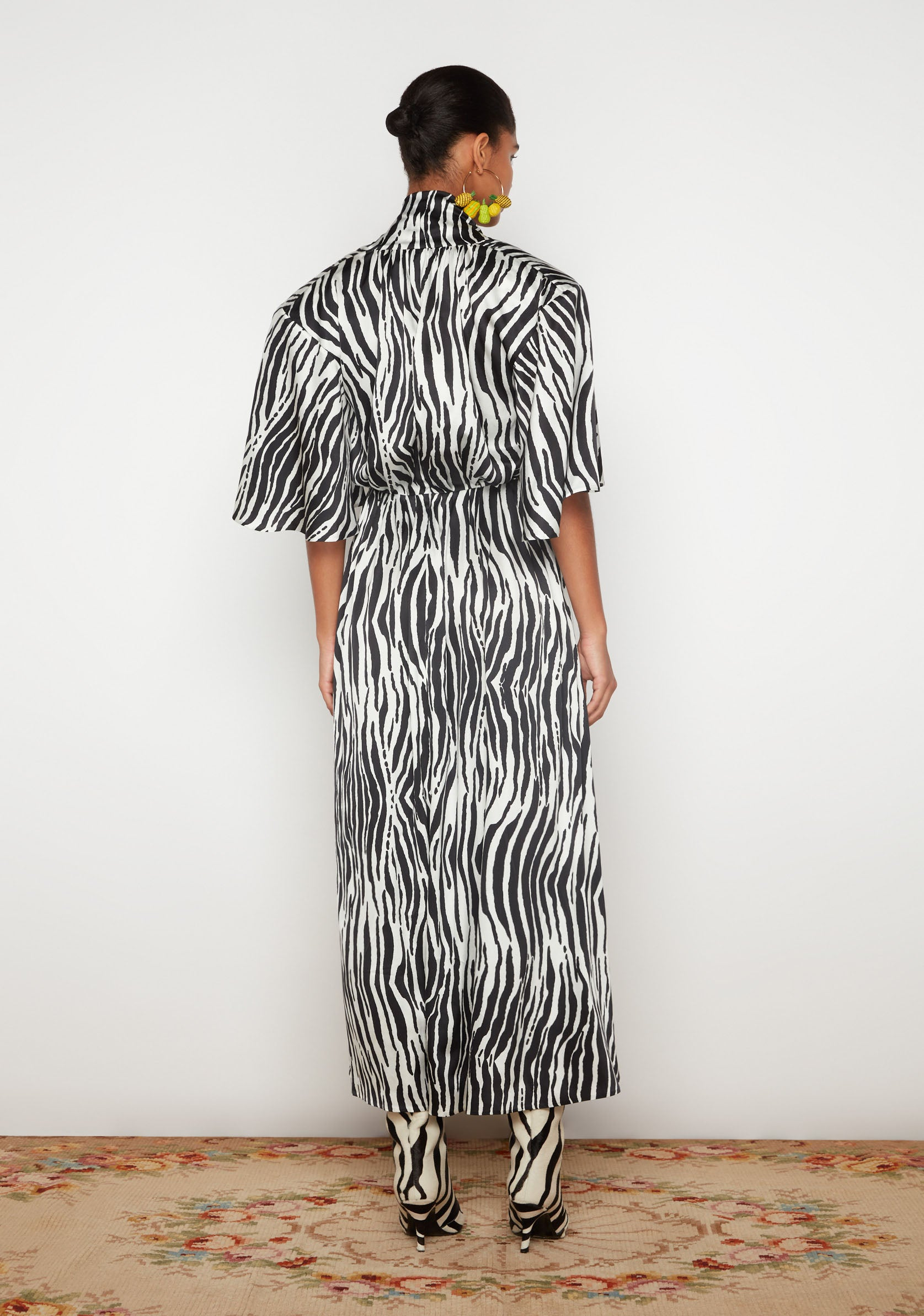 Silk Zebra Print Midi Dress