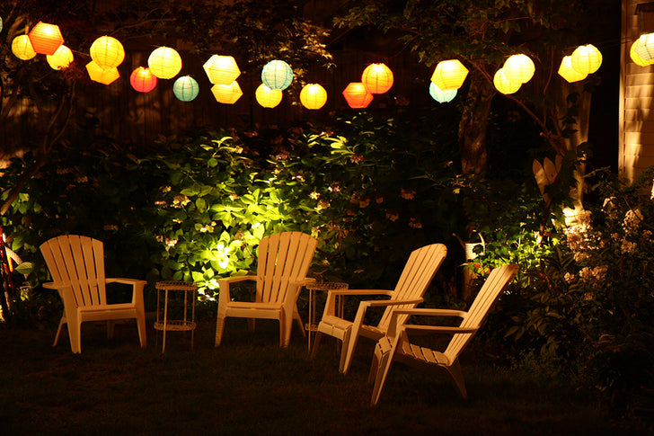 DIY yard lighting with multi outlet extension cords