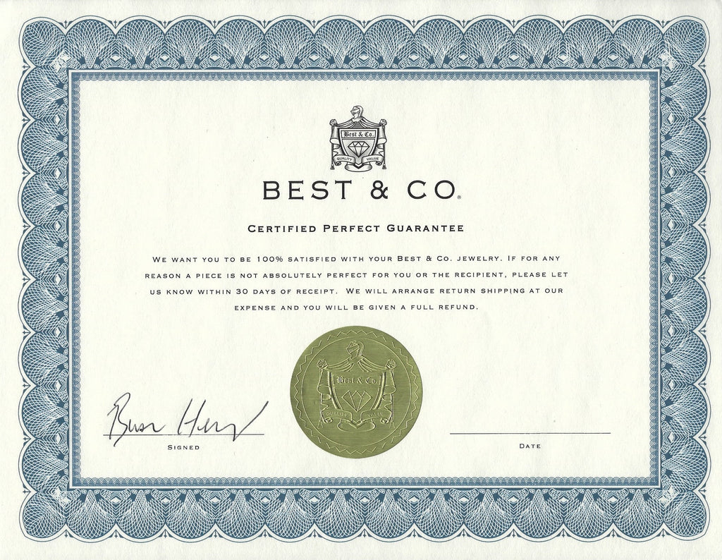 Best & Co. Certified Perfect Guarantee