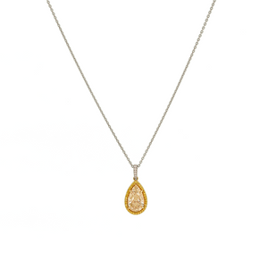 Yellow Pear Diamond Drop Necklace