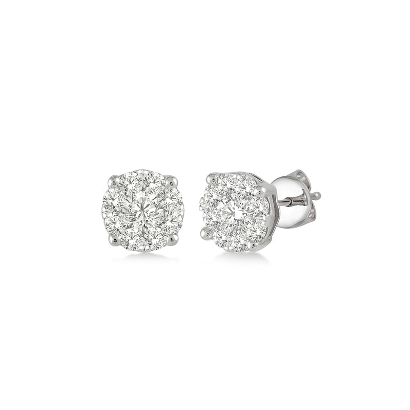 Round Diamond Illusion Studs