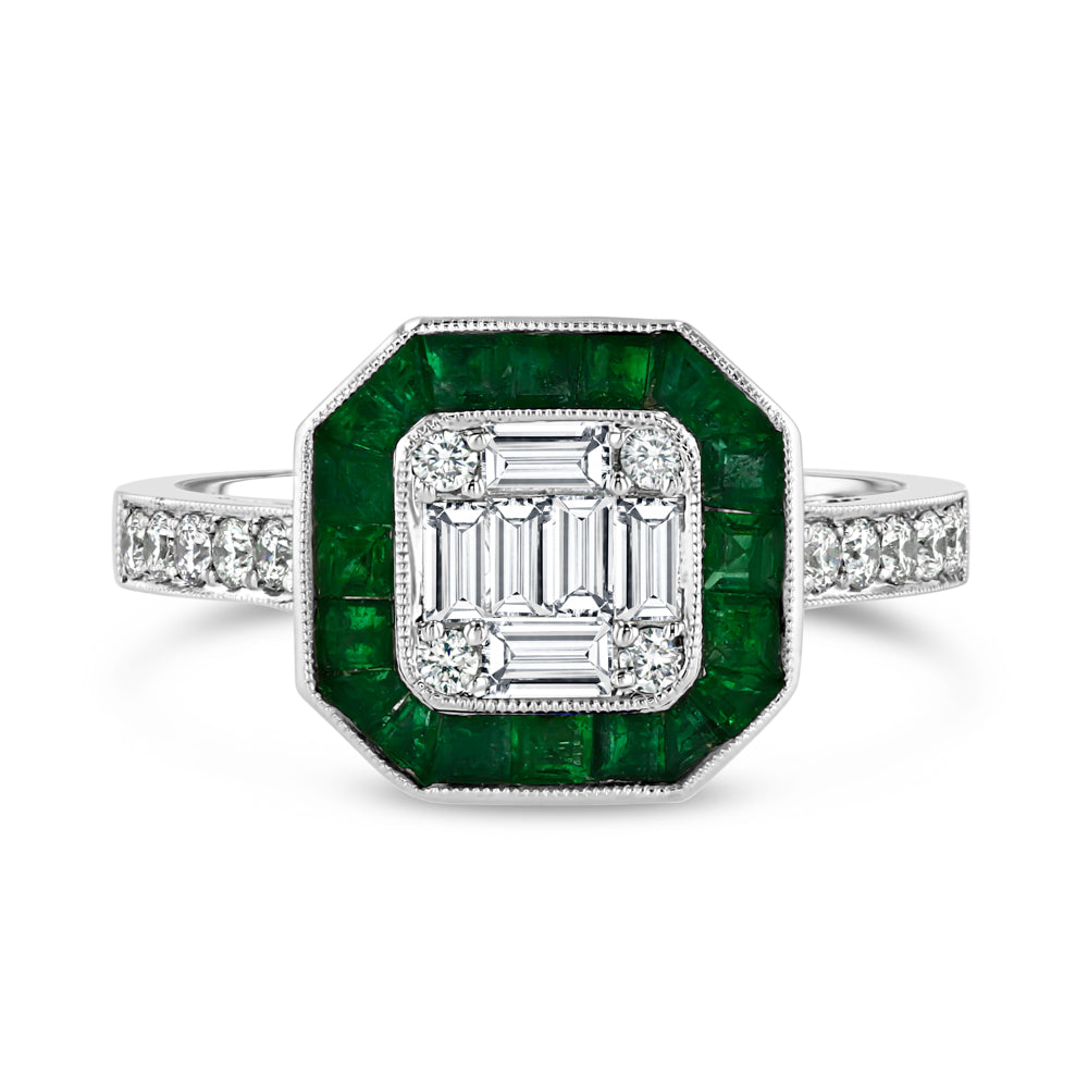 Art Deco Square Ring with Emerald Halo