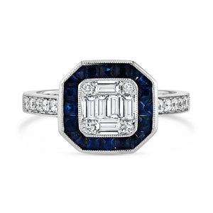 Art Deco Square Ring with Sapphire Halo
