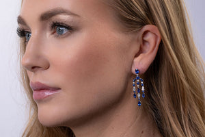Sapphire and Diamond Chandelier Earrings