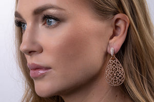 Diamond Filigree Teardrop Earrings