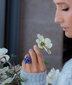 Blue Sapphire Flower Ring - Best & Co.