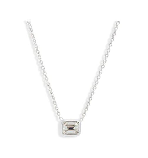Bezel Set Emerald Cut Diamond Pendant