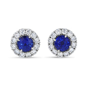 Blue Sapphire Halo Studs - Best & Co.