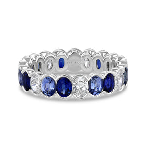 Blue Sapphire and Diamond Oval Eternity Band - Best & Co.