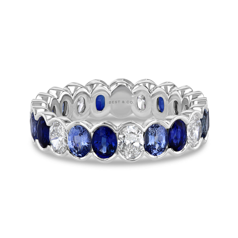 Blue Sapphire and Diamond Oval Eternity Band