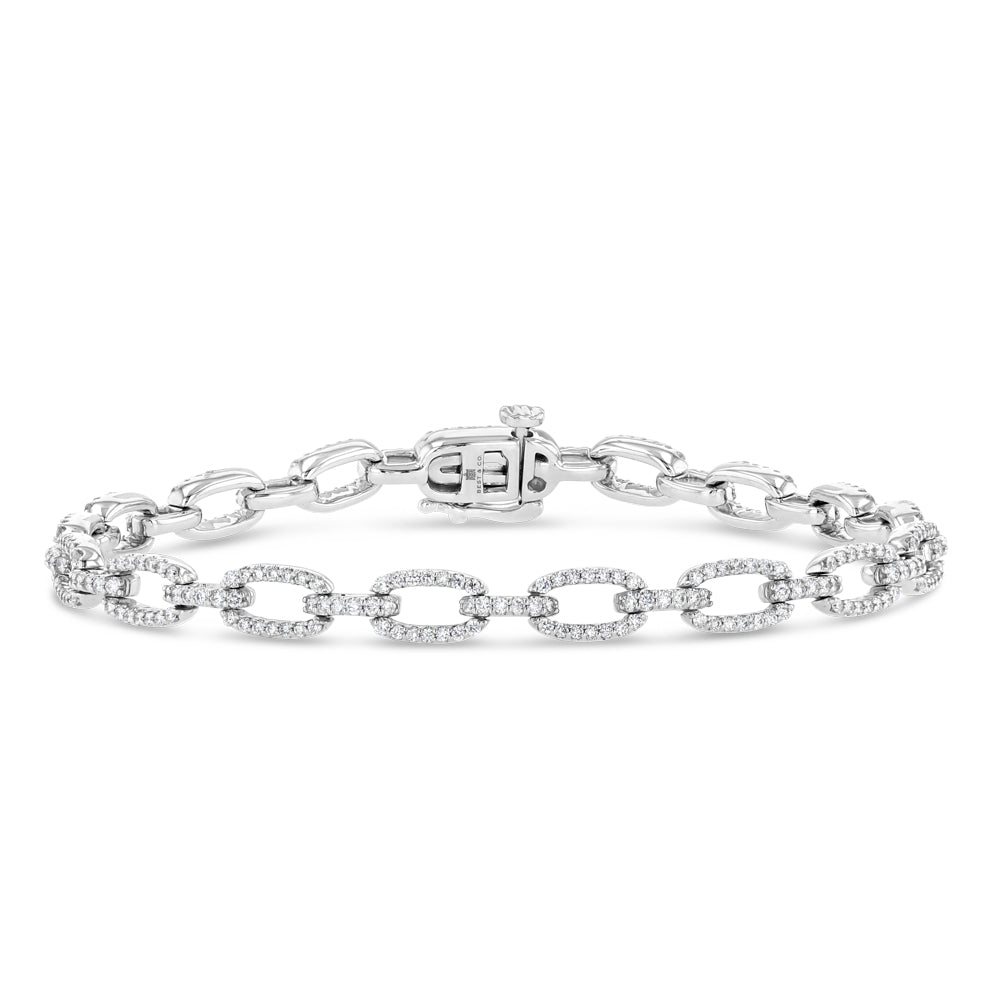 Diamond Pave Chain Bracelet (White Gold)