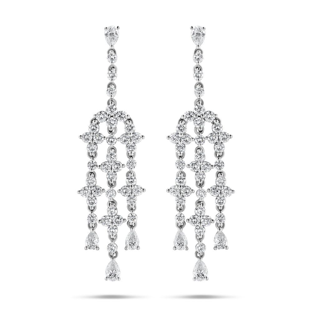 White Diamond Chandelier Earrings