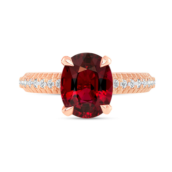 3 Carat Fluted Ruby Ring