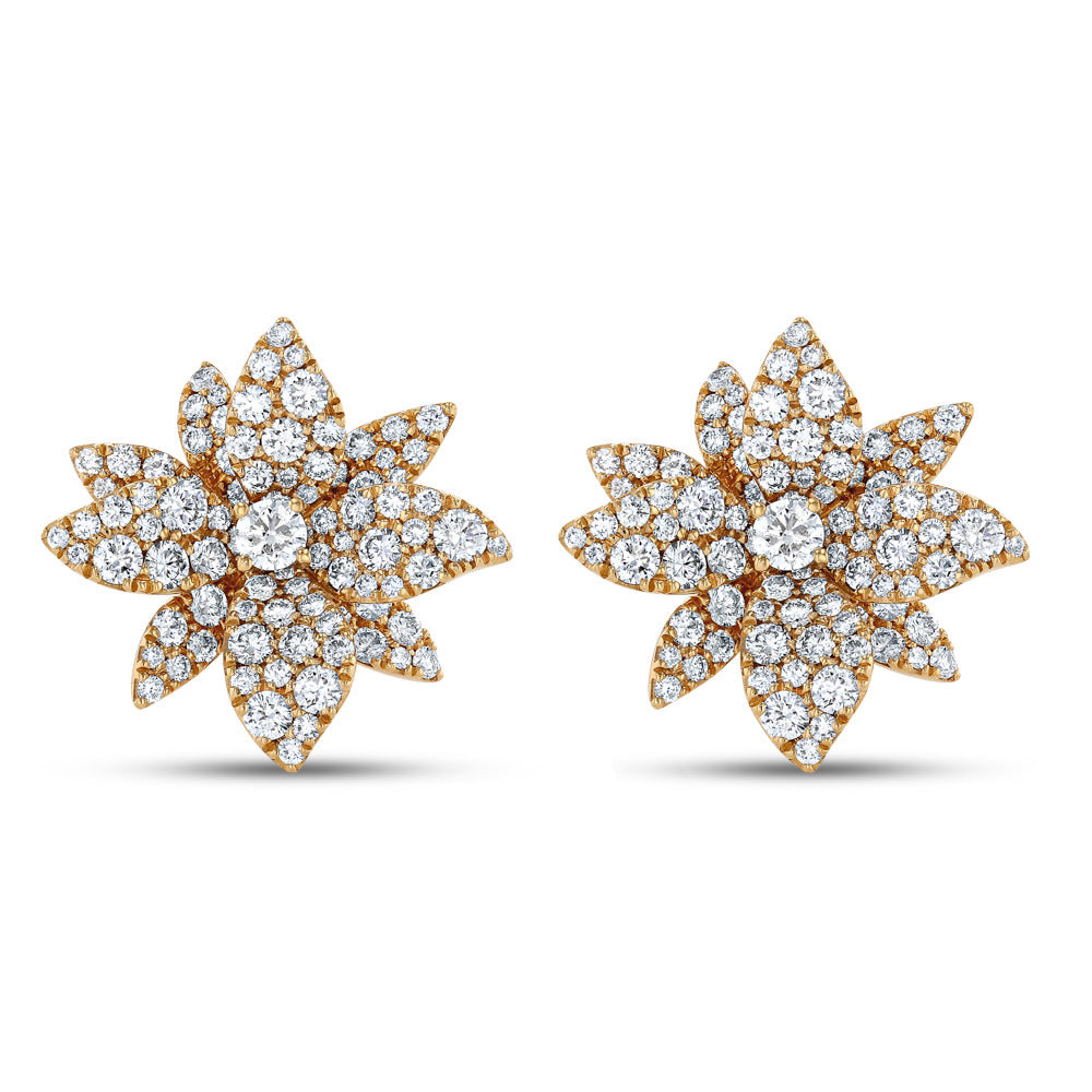 Diamond Lotus Earrings