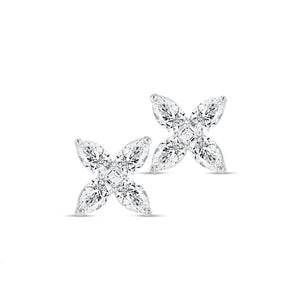 Diamond Flower Studs (Medium)