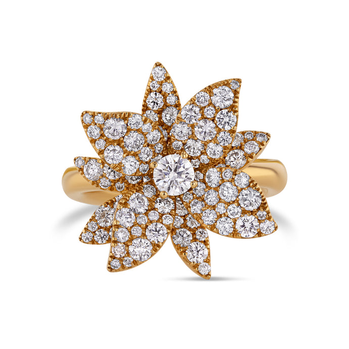 Diamond Lotus Flower Ring