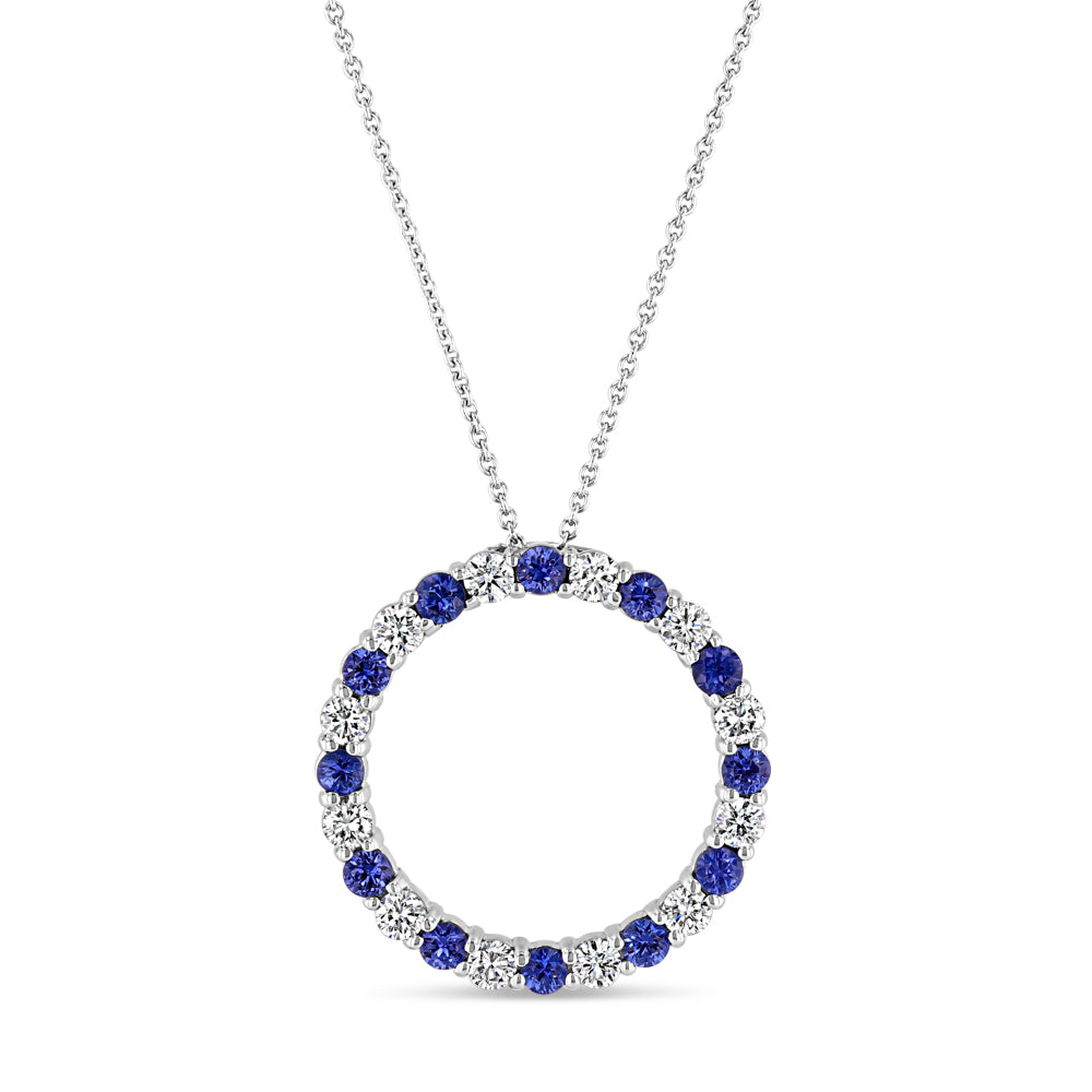 Diamond and Sapphire Circle Pendant