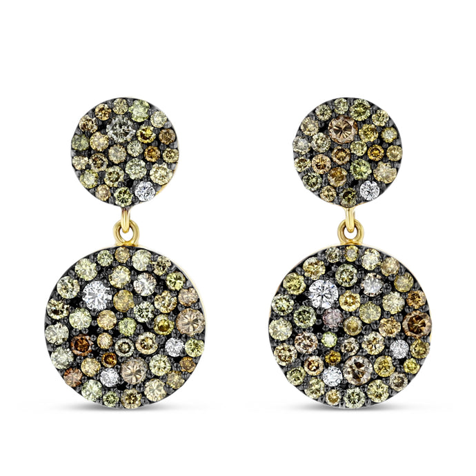 Multi-Color Diamond Medallion Earrings