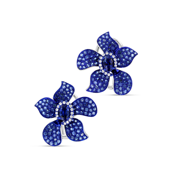 Blue Sapphire Flower Earrings