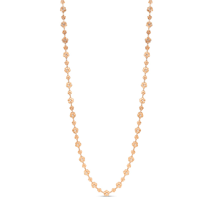 Opera Length 18k Rose Gold Flower Necklace