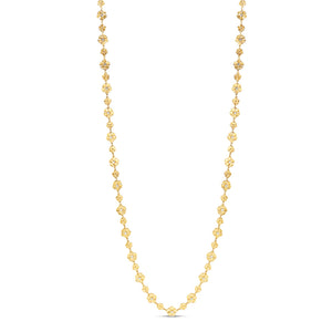 Opera Length 18k Yellow Gold Flower Necklace