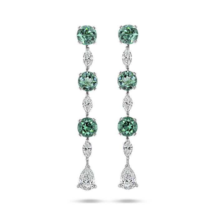 Green Tourmaline & Diamond Drop Earrings - Best & Co.