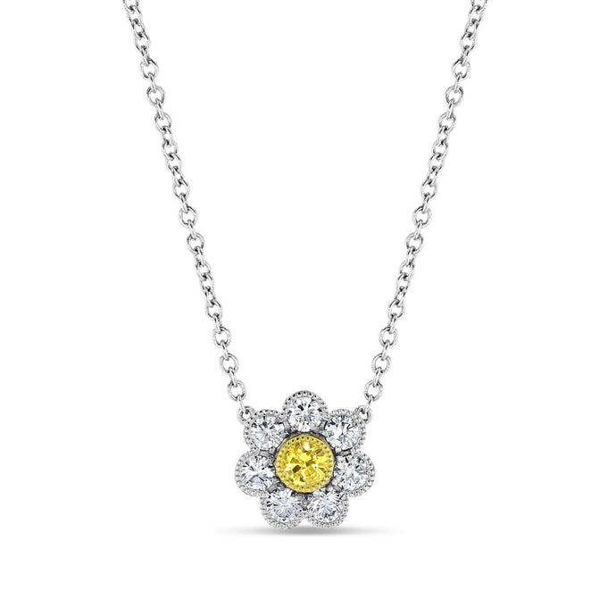 Yellow Diamond Camellia Pendant - Best & Co.