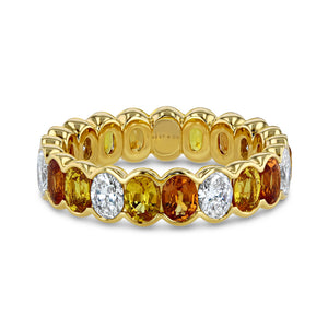 Orange, Yellow Sapphire and Diamond Oval Eternity Band