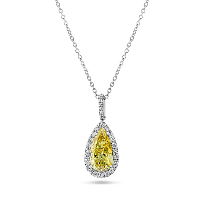 Yellow Pear Diamond Drop Pendant (3.26 carat)
