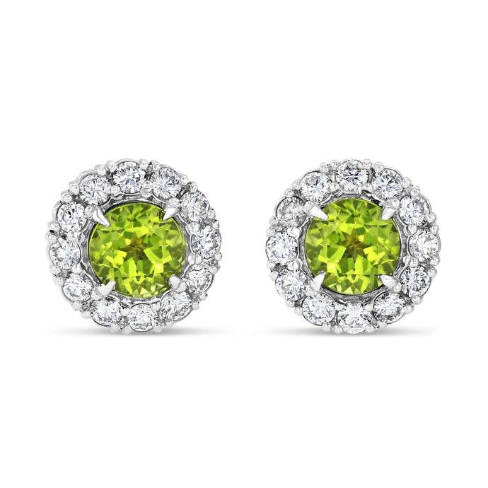 Peridot Halo Studs - Best & Co.