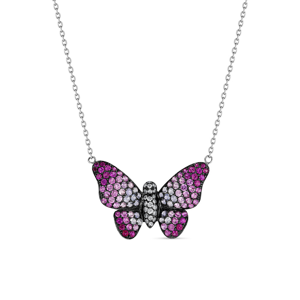 Pink Sapphire Butterfly Pendant
