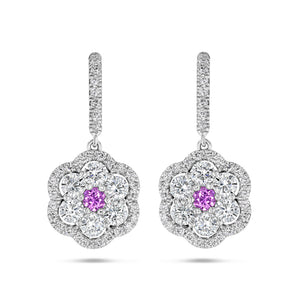 Pink Sapphire and Diamond Camelia Earrings