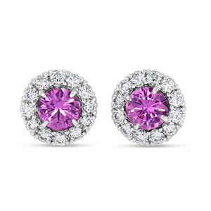 Pink Sapphire Halo Studs - Best & Co.