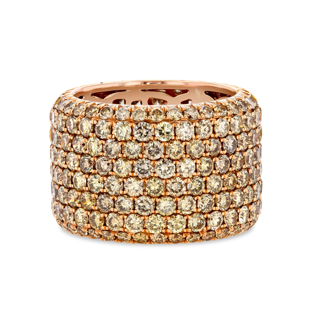 Champagne Diamond Pavé Band in 18K Rose Gold
