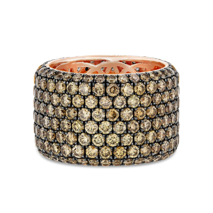 Champagne Diamond Pavé Band in 14K Rose Gold
