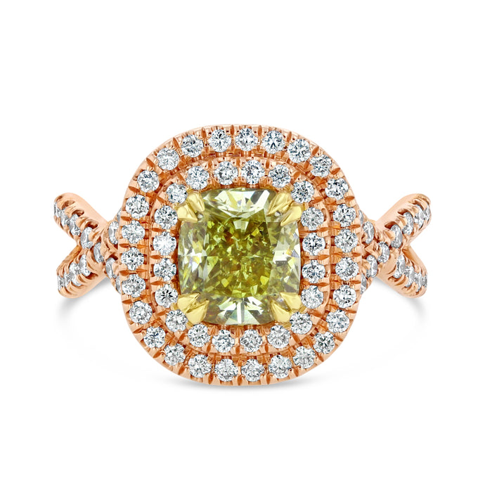 Yellowish Green Diamond Ring