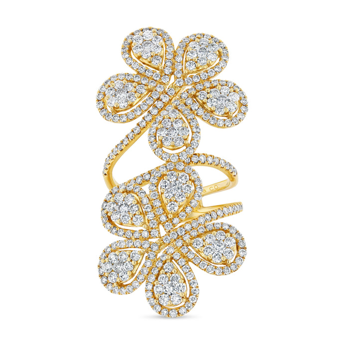 Double Flower Ring (Yellow Gold)